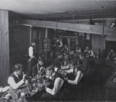 Students in the chemistry laboratory basement doing a blowpipe analysis, 1896  Michigan State University Archives & Historical Collections